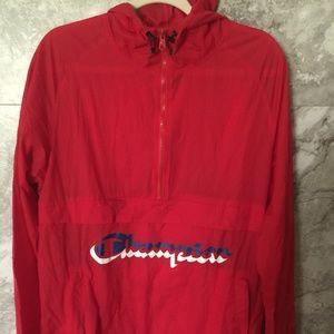 CHAMPION Manorak Red Scarlet Anorak Jacket Large